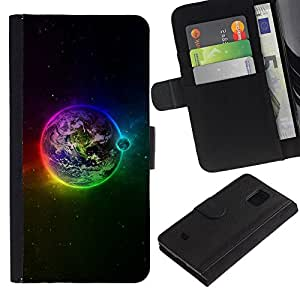 iKiki Tech / Cartera Funda Carcasa - Earth Space Planet Rainbow Stars Moon - Samsung Galaxy S5 Mini, SM-G800, NOT S5 REGULAR!