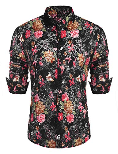 COOFANDY Men's Floral Dress Shirt Long Sleeve 70s Printed Casual Button Down Shirts Black
