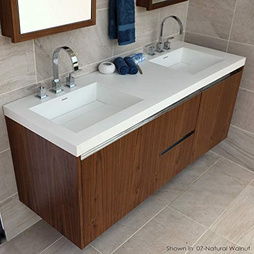 Vanity Top Double Bowl Bathroom Sink Made Of Solid Surface With An Overflow And Decorative Drain Cover 03 Three Faucet Holes In 8 Spread W 60 D 21 H 6 1 2 Gloss White Amazon Com
