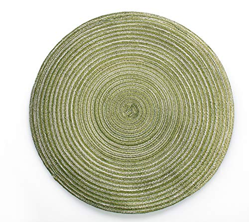 LOHAS Home 35cm Round Placemat Table Mat Set of 6 Braided Woven Placemats Washable for Kitchen Dining Table Party Gatherings (Light Green)