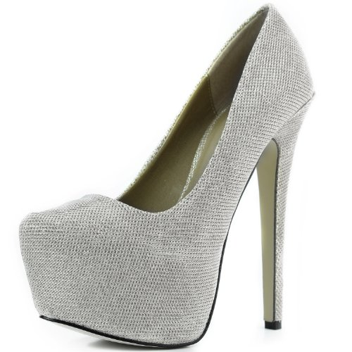 Sexy Pointed Glitter Silver Stiletto Heel Women's Platform Pump High High Toe Shoes Hidden Fashion Extreme tagq0