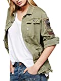 CA Mode Women Utility Embellished Army Military Shirt Jacket Outwear Coat,Army Green,Large