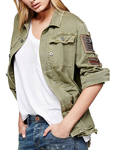 CA Mode Women Utility Embellished Army Military Shirt Jacket Outwear Coat,Army Green,Medium Medium Army (Embellished Denim Shirt)