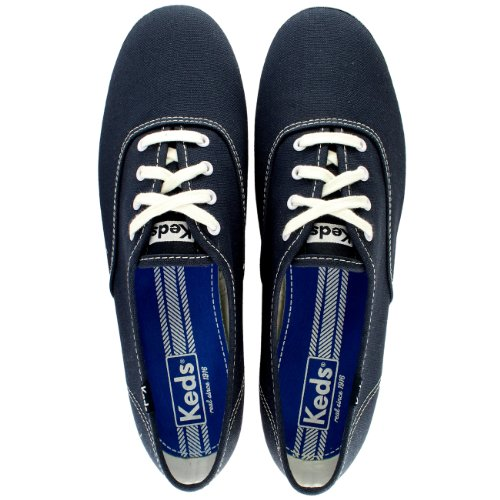 Lace Up Navy Canvas Trainers Flat Keds Womens Champion Plimsoll Casual atq44I