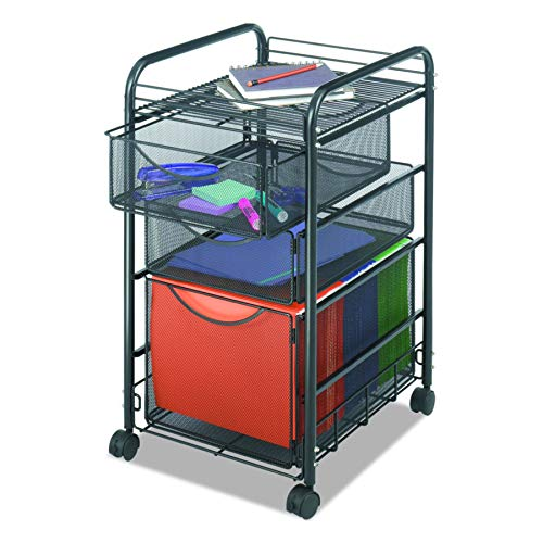 Safco Products Onyx Mesh 1 File Drawer and 2 Small Drawers Rolling File Cart 5213BL, Black Powder Coat Finish, Durable Steel Mesh Construction, Swivel Wheels For Mobility from Safco Products