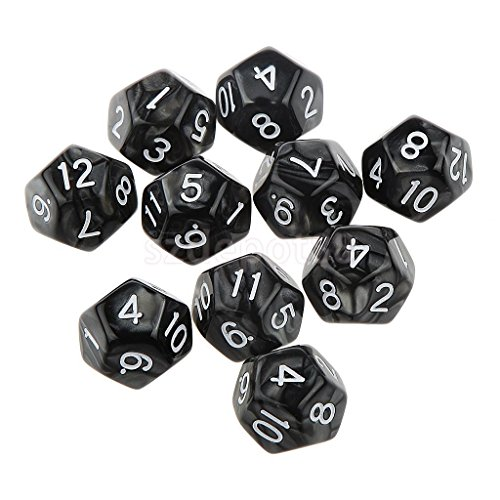 10Pcs Dungeons D&D Role Playing Bar Party Games D12(1-12) Dice Black by uptogethertek