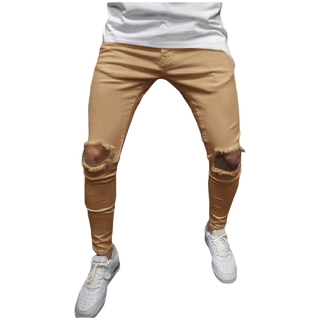 ColourfulMen Solid Holes Silm Fit Mid-Waist Pencil Pants Casual Trousers