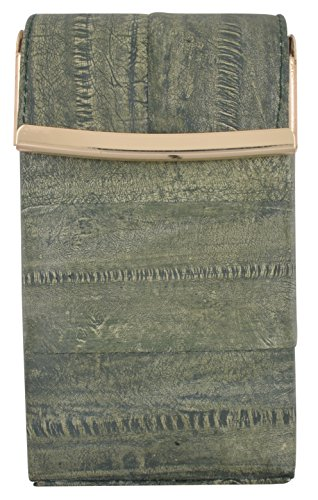Eel Green (Eel Skin Genuine Leather Sliding Cigarette Case Wallet (Washed Green))