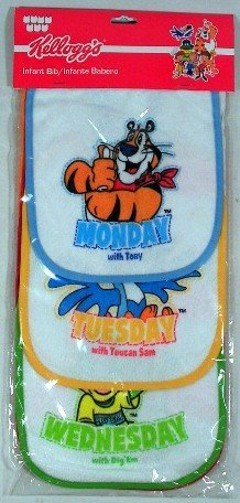 Set of 7 Kellogg's Terry Infant Bibs -