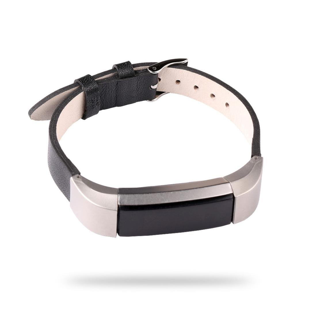 スポーツバンドfor Fitbit ALTA、HR、gotd高級レザーストラップブレスレットリストバンドFitbit ALTA交換用時計バンドfor Fitbit ALTA/Fitbit ALTA HR、大スモール、メンズレディース L ブラック ブラック B076KLY7ND