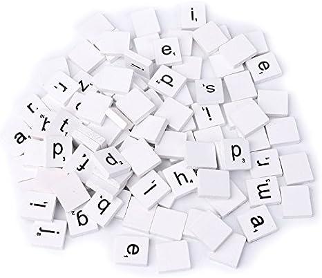 100 piezas de color blanco mezcla de madera para Scrabble letras lacado alfabeto Scrabbles por hittech: Amazon.es: Juguetes y juegos