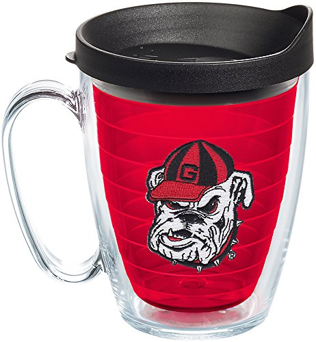 ia Bulldog Head Uga Insulated Tumbler with Emblem and Black Lid, 16 oz, Red ()