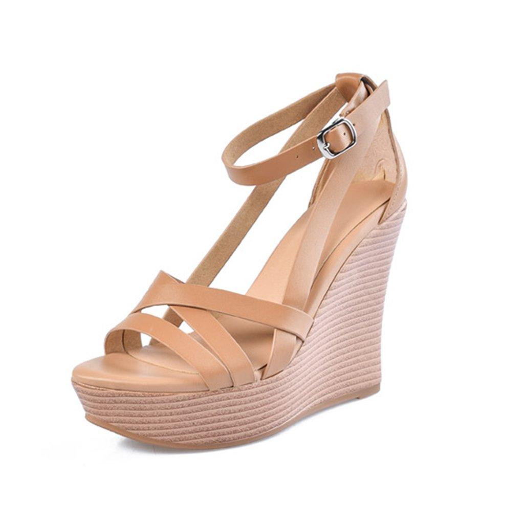 Sandales Femmes Slope Chaussures Cuir Plate-Forme de Vachette 39) Haute Talon Plate-Forme Slope & Cross Laçage Femmes Chaussures 12cm (Color : Brown, Size : 39) Brown 17c7adf - boatplans.space