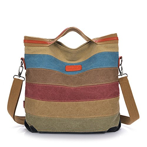 Tanchen Women Casual Stripe Canvas Handbags Micro-Fibric Leather Shoulder Bags Contrast Color Crossbody Bags for Women