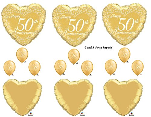 50TH GOLDEN ANNIVERSARY Balloons Birthday party Decoration Supplies Wedding Bell by ()