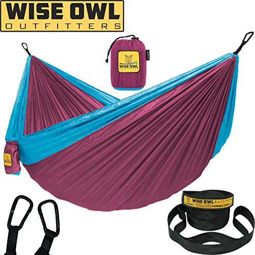 Wise Owl Outfitters Hammock for Camping Single & Double Hammocks Gear for The Outdoors Backpacking Survival or Travel - Portable Lightweight Parachute Nylon DO Fuchsia Sky Blue