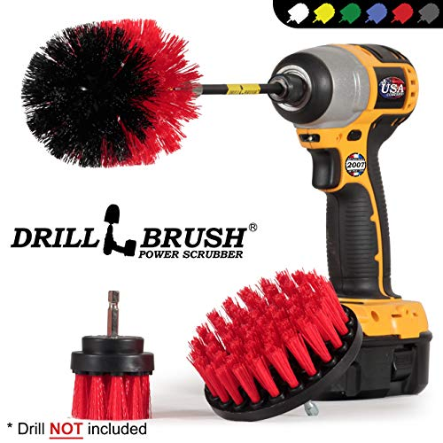 Outdoor – Cleaning Supplies – Drill Brush – Stiff Bristle Power Scrubber Kit with Extension for – Garden – Fire Pit…