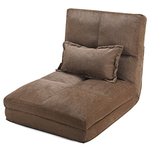 (Giantex Fold Down Sofa Bed Floor Couch Foam Folding Modern Futon Chaise Lounge Convertible Upholstered Memory Foam Padded Cushion Guest Sleeper Chair (Triple Folding Adjustable with Pillow))