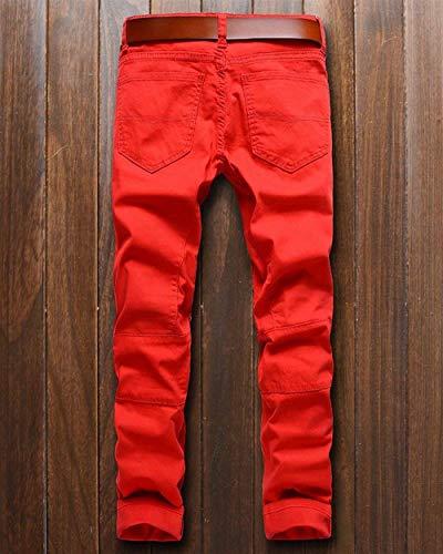 Pantaloni Slim Da Zippati Jeans Denim Uomo Motociclista Ragazzi Classiche Fit Tinta Skinny In Unita Rot Vintage 8PWwWxqR