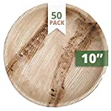 "CaterEco Round Palm Leaf 10"" Dinner Plates, 50 Pack"