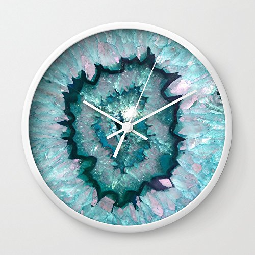 Society6 Teal Agate Wall Clock White Frame, White Hands (Agate Clock)