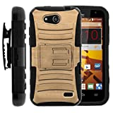 TurtleArmor | Compatible for ZTE Speed Case | N9130 [Hyper Shock] Hybrid Dual Layer Armor Holster Belt Clip Case Kickstand - Maple Wood