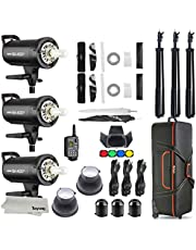 Godox SK400II 3 x 400Ws 2.4G Bowens Mount Strobe Flash Kits for Photography Lighting Portrait Photography - Light Stands, Softbox, Barn Door, Umbrella, Wireless Trigger, Carrying Case Accessory Kits