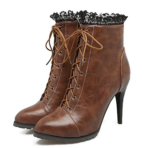 Zipper Heel High Coolcept Boots Brown Women Ankle Fashion tYHqPYw
