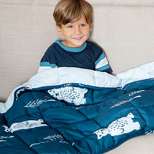 Cheap Weighted Blanket for Kids with Glass Beads Drawstring Bag 5 lbs - Soft Quilted Sensory Blankets for Children with Anxiety Insomnia ADHD - Durable Machine Washable Beaded Comforter for Toddlers Black Friday & Cyber Monday 2019