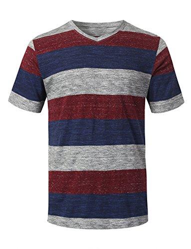 ter Hip Hop V-Neck Rugby Short Sleeve T-Shirt Burgundy, L ()