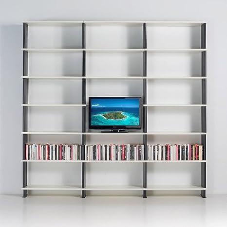 Scaffali Bianchi Componibili.Libreria Modulare Nikka Componibile Porta Tv Mobile Da