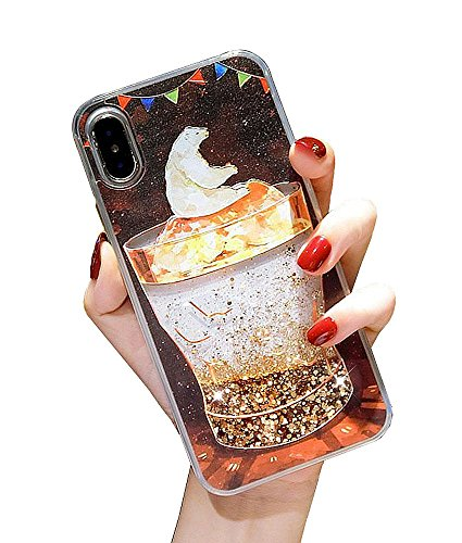 UnnFiko Liquid Ice Bear Case for iPhone 7 Plus/iPhone 8 Plus, Quicksand Flowing Stars Luxury Floating Bling Glitter Sparkle Bumper Case for Girls Women (Ice Bear, iPhone 7 Plus / 8 Plus)