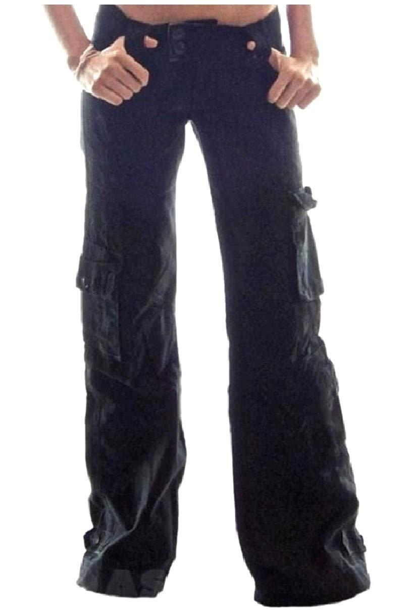 Coolred-Women Fine Cotton Leisure Oversized Mid Waist Trousers Pants Black 4XL