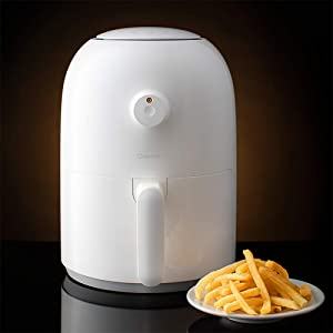 ZZHMW Air Fryer, 2.0 QT 800W Electric Stainless Steel&PC Air Fryers Oven Oilless Cooker, Preheat & Knob Control.