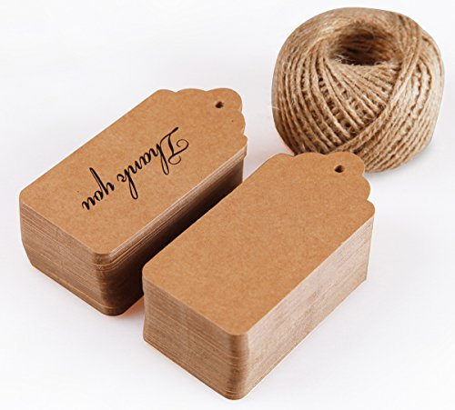 Thank You Favor Tags Celebrating with us, Gift Tags Brown Kraft Paper 144 pcs, Sturdy Kraft Paper Tags, Cute Favor Hang Tags with Free 150 Feet Nautral Jute - Price Us