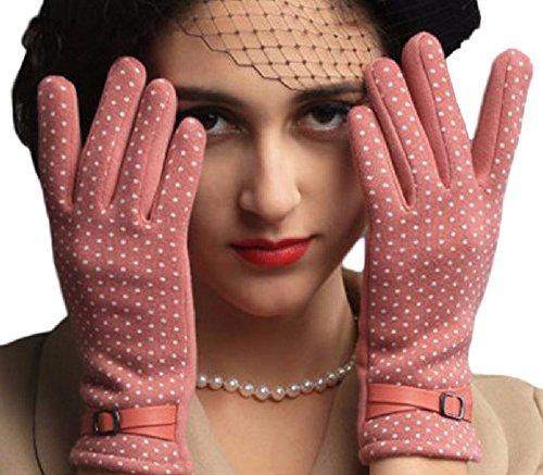 Youchan(ヨウチャン) 手袋 グローブ ニット ドット 水玉 ウール スマホ対応 暖かい グッズ 防寒 ギフト 5本指 彼女 レディース