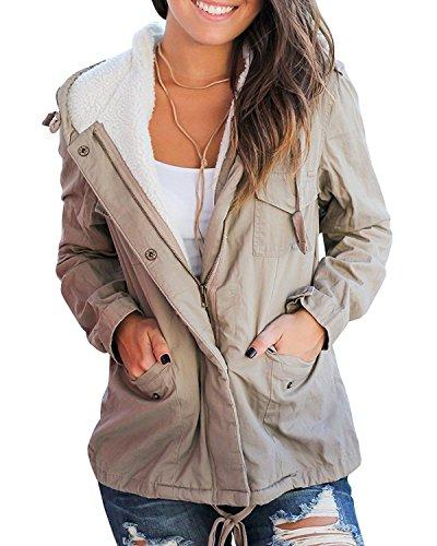 Dellytop Women Winter Warm Outerwear Faux Wool Lined Hooded Fleece Jacket Coat With (Fleece Lined Coat)