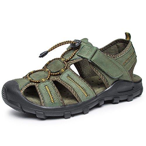 Xing Lin Sandalias De Hombre Cuero Verano Hombre De Calzado De Playa De Moda Casual Hombres Transpirable Sandalias Tendencia Exterior Fondo Blando De Hombres Zapatillas green