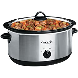 Crock-Pot 7-Quart Oval Manual Slow Cooker, Stainless Steel, SCV700SS