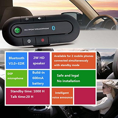XBOSS PAL Bluetooth Visor Speakerphone Car kit Wireless Handsfree Speaker Can connect 2 phone same time Universal for Any Car - Black by XBOSS (Image #4)