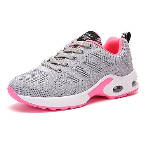 Stq Lace Up Dames Ademende Sneakers Mode Lichtgewicht Flyknit Walking Work-out Schoenen Grijs
