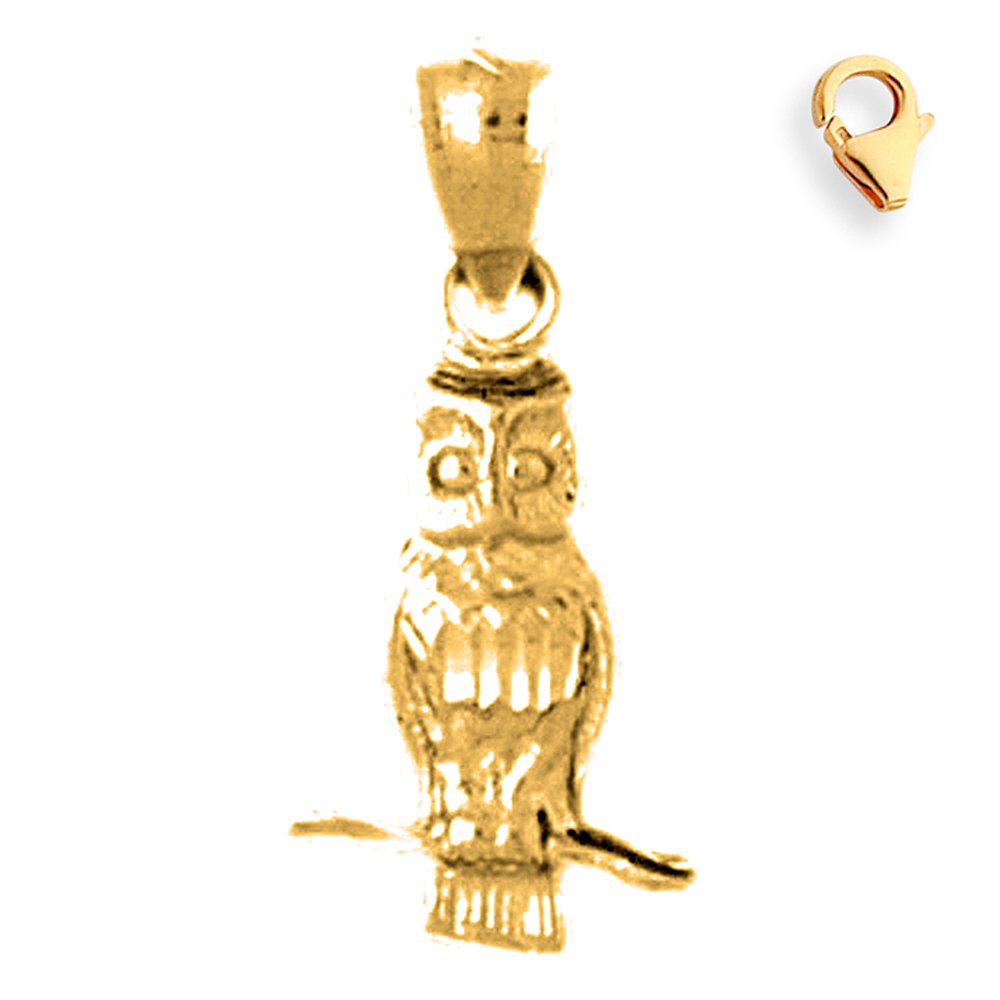 22mm Silver Yellow Plated Owl Charm