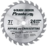 Black & Decker 67-737 Piranha 7-1/4-Inch 24 Tooth ATB Thin Kerf Framing and Ripping Saw Blade with 5/8-Inch and Diamond Knockout Arbor