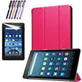 Mignova Slim Shell Case for All-New Fire 7 2017 - Ultra Slim Lightweight Standing Cover Case for Fire 7 Tablet (7th Generation - 2017 release)+ Screen Protector Film and Stylus Pen (Pink)