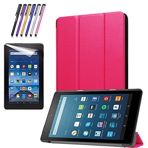 Mignova Slim Shell Case for All-New Fire 7 2017 - Ultra Slim Lightweight Standing Cover Case for Fire 7 Tablet (7th Generation - 2017 release)+ Screen Protector Film and Stylus Pen (Pink) by Mignova