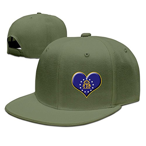 Texhood Rock Punk Heart Of Georgia Flag Fashion Cap ForestGreen (Party City Athens Georgia)