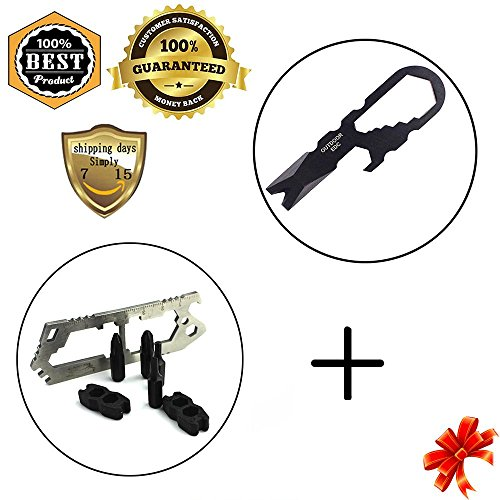 Meanhoo Multi Flathead Phillips Screwdriver Set Pocket Tool Keychain Keychain Sets & Stainless Steel Tactical Multi-functional Pocket Key Ring Keychain Tools Sets (Stainless Micra Steel)
