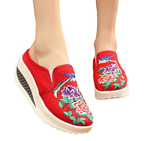AvaCostume Womens Old Beijing Embroidery Platform Heel Casual Slip-on Loafer Shoes Red2 fOlPXY7CM
