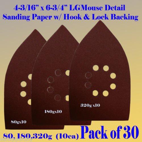 30 Assorted Large Mouse Detail Sander Sandpaper Sanding Paper Hook & Loop Assorted 80 180 320 Grits for Black and Decker Mega Mouse Cyclon Sandstorm Craftsman
