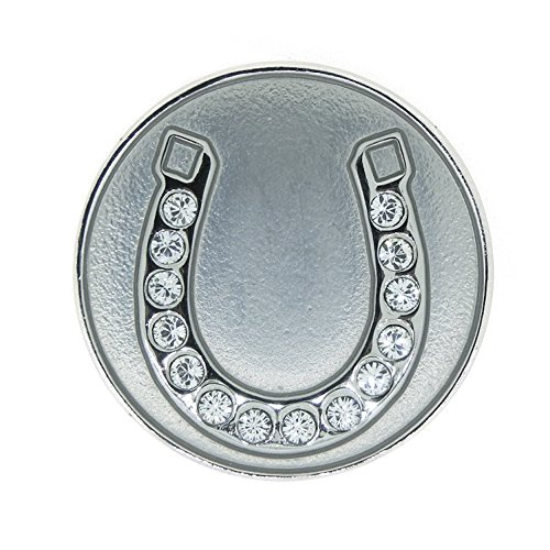 Navika Silver Horseshoe Swarovski Crystal Ball Marker with Magnetic Hat Clip ()